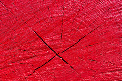 Texture en bois peinte par rouge Photos stock