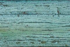 Texture en bois verte bleue avec la peinture superficielle par les agents photos stock