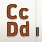 Texture en cuir de peau d'alphabet. Photographie stock