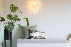 Texture en forme de coeur de fond de valentine de lampe au néon Photographie stock