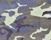 Texture of fabric with a camouflage painted in colors of the marsh. Army background image. Textile pattern of military camouflage. Fabric Stock Photography