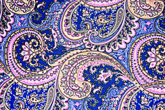 Texture fabric of retro flower and paisley Stock Photography
