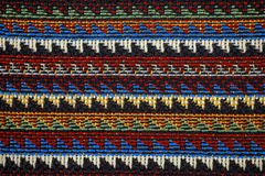 Texture of fabric with traditional Mexican pattern macro. A tissue sample Stock Photography