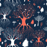 Texture fairy forest. Seamless graphic pattern of the beautiful trees and birds on a dark blue background stock illustration
