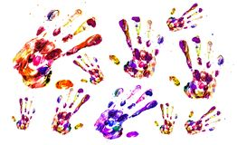 Texture - Fingerprints of many hands made of colored acrylic paints. On a white background stock image