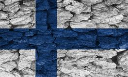 Texture of  Finland  flag. Texture of the Flag of Finland on a decorative tree bark Stock Photos
