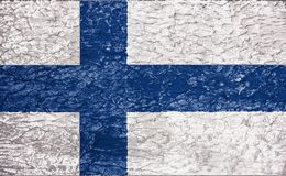 Texture of Finland flag. The texture of Finland flag on the wall of rough relief plaster royalty free stock image