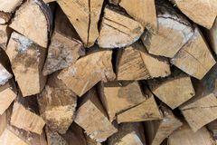 Stacked woodpile. Texture of the firewood. Stacked woodpile Royalty Free Stock Images