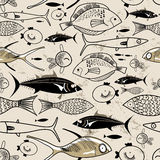 Texture of fish. Seamless graphic pattern with fish on a brown background Stock Images
