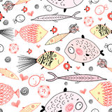 Texture of fish lovers. Seamless pattern of the fun of graphic fish on a white background Stock Photo