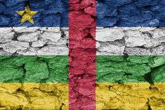 Texture of the Flag of Central African Republic. On a decorative tree bark stock photo