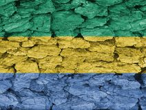 Texture of the Flag of Gabon. Texture of the Flag of Gabon on a decorative tree bark Royalty Free Stock Photography