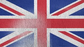 The texture of the flag of Great Britain. On the wall of plaster royalty free illustration