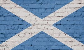 Texture of a flag of Scotland on wall. stock illustration