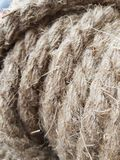 Flax rope from long flax fibers for home decor royalty free stock photography