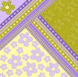 Texture with floral ornaments. Floral ornament in purple and yellow Stock Photography