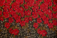 Texture with floral patterned fabrics Royalty Free Stock Photos