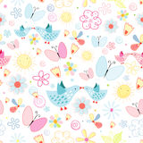Texture of flowers butterflies and birds Royalty Free Stock Images