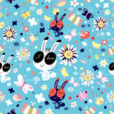 Texture of flowers and funny bunnies Stock Images