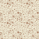 Texture with flowers, hearts, strawberries. Royalty Free Stock Images