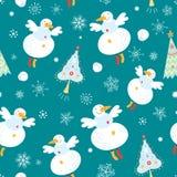 Texture flying snowmen vector illustration