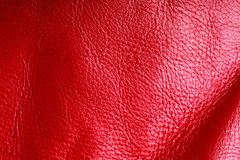 Texture of folds vivid red skin leather background. Red leather texture background closeup. Folds wavy natural skin material Stock Photography