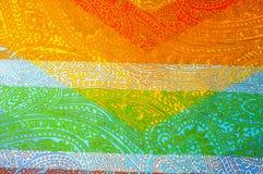 Texture, fond Configuration Coton de tissu lumineux PA de Kalamkari photographie stock libre de droits
