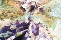 Texture, fond, modèle Couleurs exquises en soie de tissu avec Images libres de droits