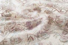 Texture, fond, modèle Dentelle rose sur le fond blanc broche Photo libre de droits