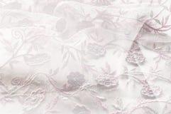 Texture, fond, modèle Dentelle rose sur le fond blanc broche Image stock