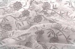 Texture, fond, modèle Dentelle rose sur le fond blanc broche Photographie stock