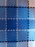 Texture in the form of checkered tablecloth. Texture of table tablecloth Blue Check Stock Photo