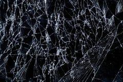 Texture fragile cassée de dommages de fente en verre d'écran images stock