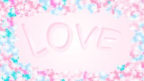 Texture frame with the inscription love letters of cheerful beautiful loving tender hearts. Back background Vector illustration. Texture frame with the stock illustration