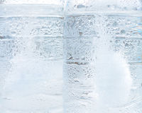 Texture of frozen water drops cool ice,Water Bottles , ice background Royalty Free Stock Photos