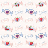 Texture with fruit candy. Vector pattern with candies, berries strawberries, raspberries and cherries and the words candy Stock Photography