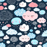 Texture of the fun of clouds. Seamless graphic pattern of different clouds on a dark blue background Stock Photos