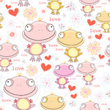 Texture of the fun love frogs. Seamless pattern of the fun love of frogs with hearts on white background Royalty Free Stock Photo