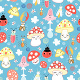Texture fun mushrooms and beetles vector illustration