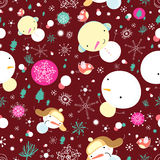 Texture of fun snowman. Seamless pattern of bright funny snowmen on burgundy background with snowflakes and Christmas trees Royalty Free Stock Photography