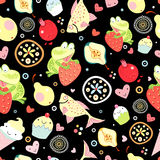Texture of funny frogs among the fruits. Seamless pattern of green frogs and fish among the fruit on a black background Stock Photo