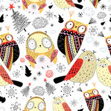 Texture funny owl royalty free illustration