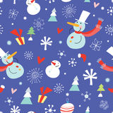Texture funny snowmen. Seamless pattern of cheerful snowmen Christmas trees and gifts on a purple background with snowflakes Royalty Free Stock Photo