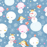 Texture funny snowmen. Seamless pattern of cheerful snowmen and snowflakes with birds on a blue background Royalty Free Stock Image