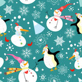 Texture funny snowmen and penguins vector illustration
