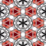 Texture géométrique circulaire rouge métallique ou fond de chrome abstrait sans couture Images stock