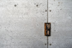 Texture of galvanized metal. With rusty hinge and rivets royalty free stock image