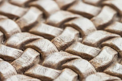 Texture of genuine brown wicker leather close-up Royalty Free Stock Photo