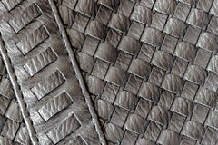 Texture of genuine dark wicker leather close-up and details with stitches of male handbag. For background. Concept of Royalty Free Stock Images