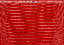 Texture of genuine leather red. Background, close-up Stock Images